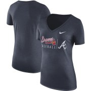 Wholesale Cheap Atlanta Braves Nike Women's Practice Tri-Blend V-Neck T-Shirt Navy