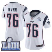 Wholesale Cheap Nike Patriots #76 Isaiah Wynn White Super Bowl LIII Bound Women's Stitched NFL Vapor Untouchable Limited Jersey