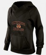 Wholesale Cheap Women's Cincinnati Bengals Heart & Soul Pullover Hoodie Black