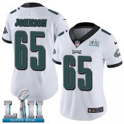 Wholesale Cheap Nike Eagles #65 Lane Johnson White Super Bowl LII Women's Stitched NFL Vapor Untouchable Limited Jersey