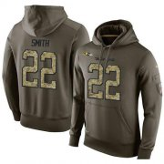 Wholesale Cheap NFL Men's Nike Baltimore Ravens #22 Jimmy Smith Stitched Green Olive Salute To Service KO Performance Hoodie