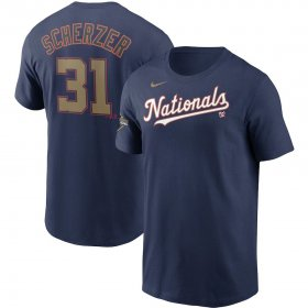 Wholesale Cheap Washington Nationals #31 Max Scherzer Nike 2020 Gold Program Name & Number T-Shirt Navy