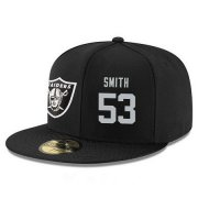 Wholesale Cheap Oakland Raiders #53 Malcolm Smith Snapback Cap NFL Player Black with Silver Number Stitched Hat