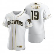 Wholesale Cheap Milwaukee Brewers #19 Robin Yount White Nike Men's Authentic Golden Edition MLB Jersey
