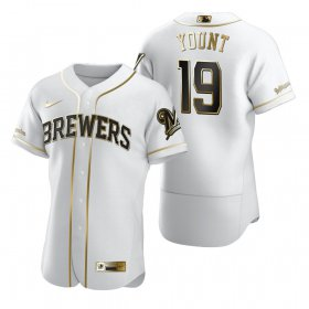 Wholesale Cheap Milwaukee Brewers #19 Robin Yount White Nike Men\'s Authentic Golden Edition MLB Jersey