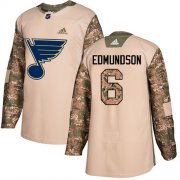 Wholesale Cheap Adidas Blues #6 Joel Edmundson Camo Authentic 2017 Veterans Day Stitched NHL Jersey