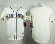Wholesale Cheap Mariners Blank Cream Alternate Cool Base Stitched MLB Jersey
