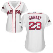 Wholesale Cheap Red Sox #23 Blake Swihart White Home 2018 World Series Champions Women's Stitched MLB Jersey