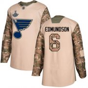 Wholesale Cheap Adidas Blues #6 Joel Edmundson Camo Authentic 2017 Veterans Day Stanley Cup Champions Stitched NHL Jersey
