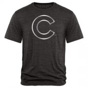 Wholesale Cheap Chicago Cubs Fanatics Apparel Platinum Collection Tri-Blend T-Shirt Black