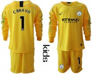 Wholesale Cheap Manchester City #1 C.Bravo Yellow Goalkeeper Long Sleeves Kid Soccer Club Jersey