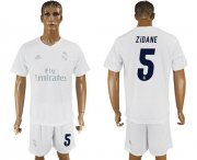 Wholesale Cheap Real Madrid #5 Zidane Marine Environmental Protection Home Soccer Club Jersey
