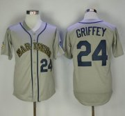 Wholesale Cheap Mitchell And Ness Mariners #24 Ken Griffey Grey Throwback Stitched MLB Jersey