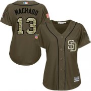 Wholesale Cheap Padres #13 Manny Machado Green Salute to Service Women's Stitched MLB Jersey