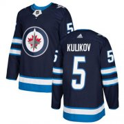 Wholesale Cheap Adidas Jets #5 Dmitry Kulikov Navy Blue Home Authentic Stitched NHL Jersey