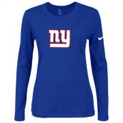 Wholesale Cheap Women's Nike New York Giants Of The City Long Sleeve Tri-Blend NFL T-Shirt Blue