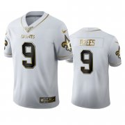 Wholesale Cheap New Orleans Saints #9 Drew Brees Men's Nike White Golden Edition Vapor Limited NFL 100 Jersey