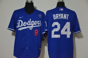Wholesale Cheap Los Angeles Dodgers #8 #24 Kobe Bryant Men\'s Nike Royal Cool Base 2020 KB Patch MLB Jersey