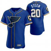 Wholesale Cheap St. Louis Blues #20 Alexander Steen Men's 2020 NHL x MLB Crossover Edition Baseball Jersey Blue