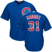 Wholesale Cheap Cubs #31 Greg Maddux Blue Team Logo Fashion Stitched MLB Jersey