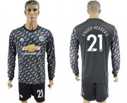 Wholesale Cheap Manchester United #21 Ander Herrera Black Long Sleeves Soccer Club Jersey