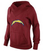 Wholesale Cheap Women's Los Angeles Chargers Logo Pullover Hoodie Red-1