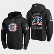 Wholesale Cheap Bruins #26 Colby Cave NHL Banner Wave Usa Flag Black Hoodie