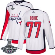 Wholesale Cheap Adidas Capitals #77 T.J. Oshie White Road Authentic Stanley Cup Final Champions Stitched NHL Jersey