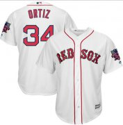 Wholesale Cheap Red Sox #34 David Ortiz White New Cool Base with Retirement Patch Stitched MLB Jersey