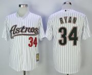 Wholesale Cheap Astros #34 Nolan Ryan White Strip 2000 Turn Back The Clock Stitched MLB Jersey