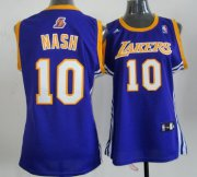 Wholesale Cheap Los Angeles Lakers #10 Steve Nash Purple Womens Jersey