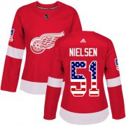 Wholesale Cheap Adidas Red Wings #51 Frans Nielsen Red Home Authentic USA Flag Women's Stitched NHL Jersey