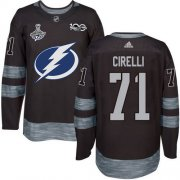 Cheap Adidas Lightning #71 Anthony Cirelli Black 1917-2017 100th Anniversary 2020 Stanley Cup Champions Stitched NHL Jersey