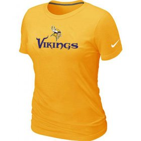Wholesale Cheap Women\'s Nike Minnesota Vikings Authentic Logo T-Shirt Yellow