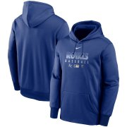 Wholesale Cheap Men's Kansas City Royals Nike Royal Authentic Collection Therma Performance Pullover Hoodie