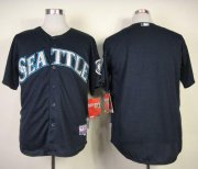Wholesale Mariners Blank Navy Blue Cool Base Stitched Baseball Jersey