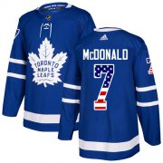 Wholesale Cheap Adidas Maple Leafs #7 Lanny McDonald Blue Home Authentic USA Flag Stitched NHL Jersey