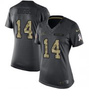 Wholesale Cheap Nike Bills #14 Stefon Diggs Black Women's Stitched NFL Limited 2016 Salute to Service Jersey