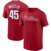Wholesale Cheap Philadelphia Phillies #45 Zack Wheeler Nike Name & Number T-Shirt Red