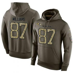 Wholesale Cheap NFL Men\'s Nike Baltimore Ravens #87 Maxx Williams Stitched Green Olive Salute To Service KO Performance Hoodie