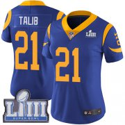Wholesale Cheap Nike Rams #21 Aqib Talib Royal Blue Alternate Super Bowl LIII Bound Women's Stitched NFL Vapor Untouchable Limited Jersey