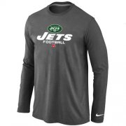Wholesale Cheap Nike New York Jets Critical Victory Long Sleeve T-Shirt Dark Grey