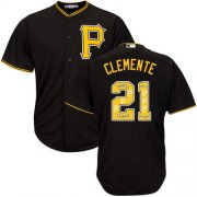 Wholesale Cheap Pirates #21 Roberto Clemente Black Team Logo Fashion Stitched MLB Jersey