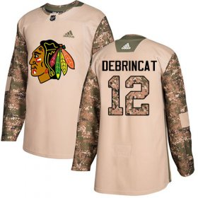 Wholesale Cheap Adidas Blackhawks #12 Alex DeBrincat Camo Authentic 2017 Veterans Day Stitched Youth NHL Jersey