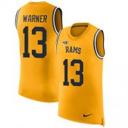 Wholesale Cheap Nike Rams #13 Kurt Warner Gold Men's Stitched NFL Limited Rush Tank Top Jersey