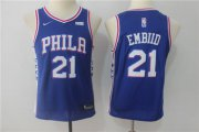 Cheap Nike 76ers 21 Joel Embiid Blue Youth Nike Swingman Jersey