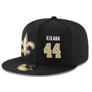 Wholesale Cheap New Orleans Saints #44 Hau'oli Kikaha Snapback Cap NFL Player Black with Gold Number Stitched Hat