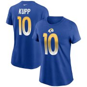 Wholesale Cheap Los Angeles Rams #10 Cooper Kupp Nike Women's Team Player Name & Number T-Shirt Royal