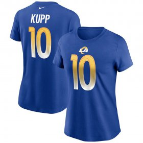 Wholesale Cheap Los Angeles Rams #10 Cooper Kupp Nike Women\'s Team Player Name & Number T-Shirt Royal