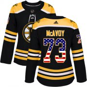 Wholesale Cheap Adidas Bruins #73 Charlie McAvoy Black Home Authentic USA Flag Women's Stitched NHL Jersey